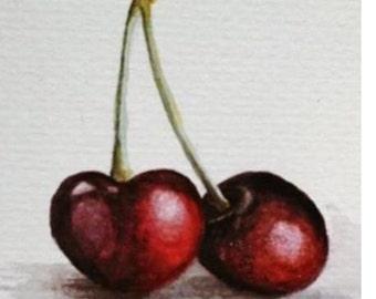 watercolour cherries painting