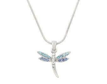 Crystal Blue Dragonfly Necklace, Dragonfly Jewelry, White Gold Plating Dragonfly Necklace, w Gift Box