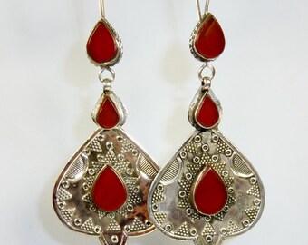Kazakhi Silver Earrings with Carnelian, Tribal-Silver-Earrings