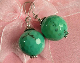 Earrings Grass Turquoise Howlite 20mm Facet Round Beads 925 ESAN2060