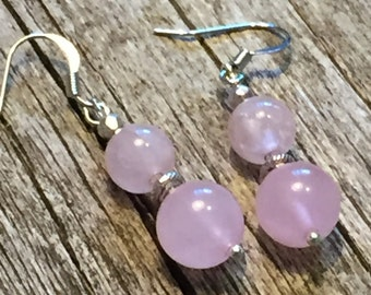 Rose Quartz and Tibetan Silver Bead Earrings  Inner Peace  Love      Compassion  Emotional Wellbeing Mother's Day Gift