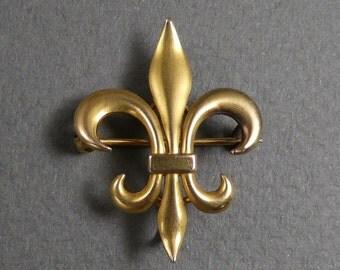 10K gold fleur de lys watch pin