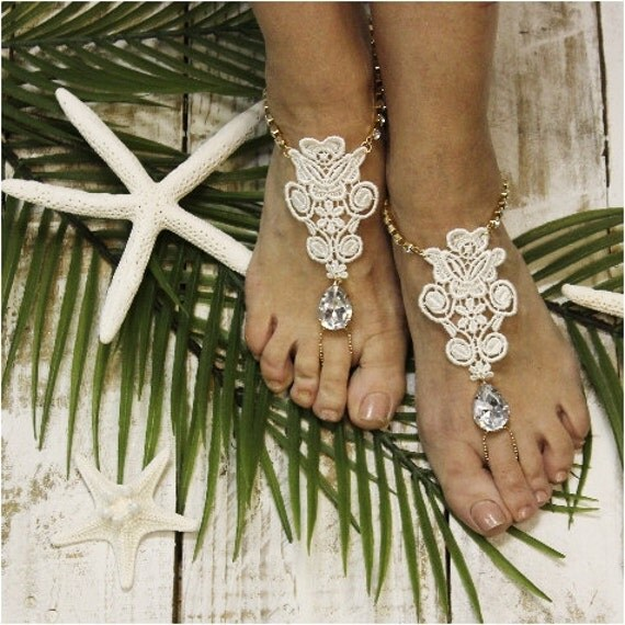 Barefoot sandals, lace, rhinestones, wedding foot jewelry, beach wedding sandles, crystals, diamante,  romantic, soleless, footless | B31