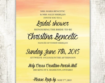 PAINTED WATERCOLOUR Invitation // Bridal Shower // Sunset // Wedding Shower// PRINTED Invites