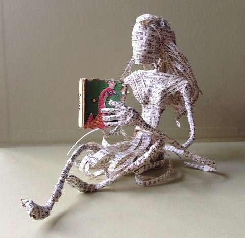 Pride and Prejudice, Book sculpture, Book lover, Cake Topper, 1st anniversary, Librarian gift, paper art, Jane Austen,  repurposed book