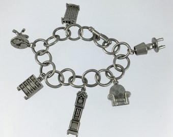 Clift Pewter Charm Bracelet, Home Furniture Charm Bracelet, Pewter Charms, First Home Gift, House Warming, Gift for Her