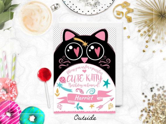 Cute cat themed birthday invitation kawaii pet bday party – Cat Birthday Invitations