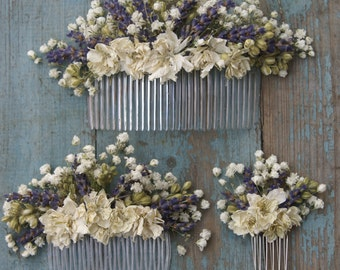 Lavender Twist Baby's Breath Dried Flower Hair Comb