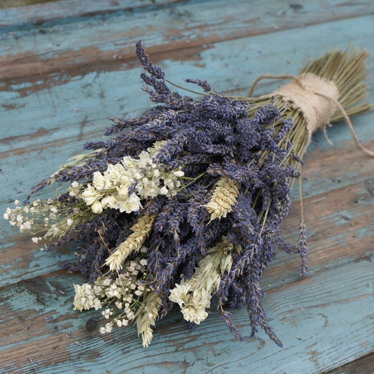 Lavender wheat oats baby s breath dried flower bouquet