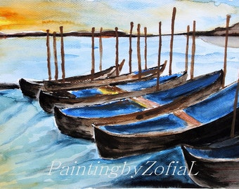 Original watercolor painting Boats at sunset nautical painting A4 21x29,7 cm (8,3x11,7 in)