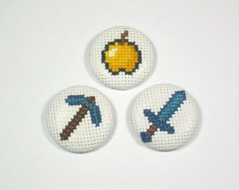 Minecraft Cross Stitch 1.5 Round Pin Button set, Diamond Sword, Diamond Pickaxe, Golden Apple
