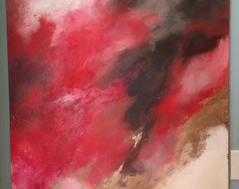 """Large Red Gold Leaf Abstract Painting - """"Yazmin"""" in 36"""" x 36"""""""
