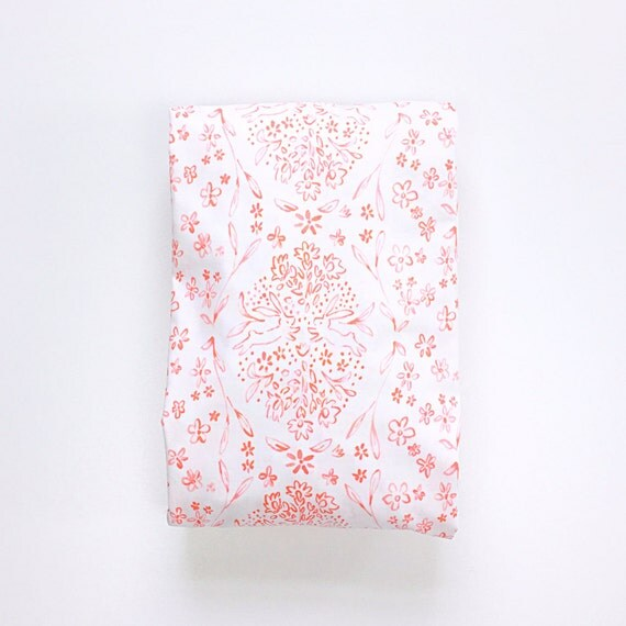 Changing Pad Cover >> Sommer Sundborn in Coral Pink >> Made-to-Order >> toile changing pad, floral diamond changing pad, bunny rabbit