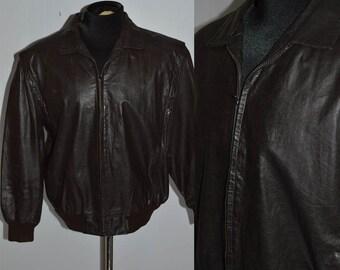 Vintage Sergio Valente Black Leather Jacket Genuine Real 70's Size Large Bomber