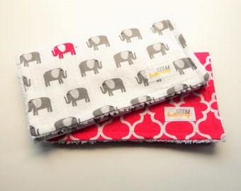 Girl Burp Cloth set- Set of 2, Pink and gray, elephants, baby shower, gray and magenta, burp cloth set