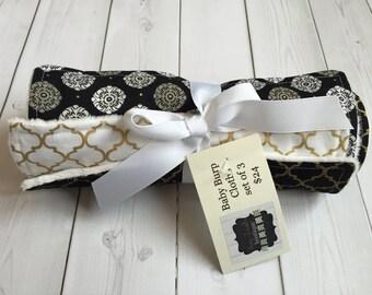 Burp Cloths Set of 3 - Black, White, Gold - Minky Dot - Ready to Ship - Baby Feeding -Gender Neutral - Coordinating Fabrics - Trendy