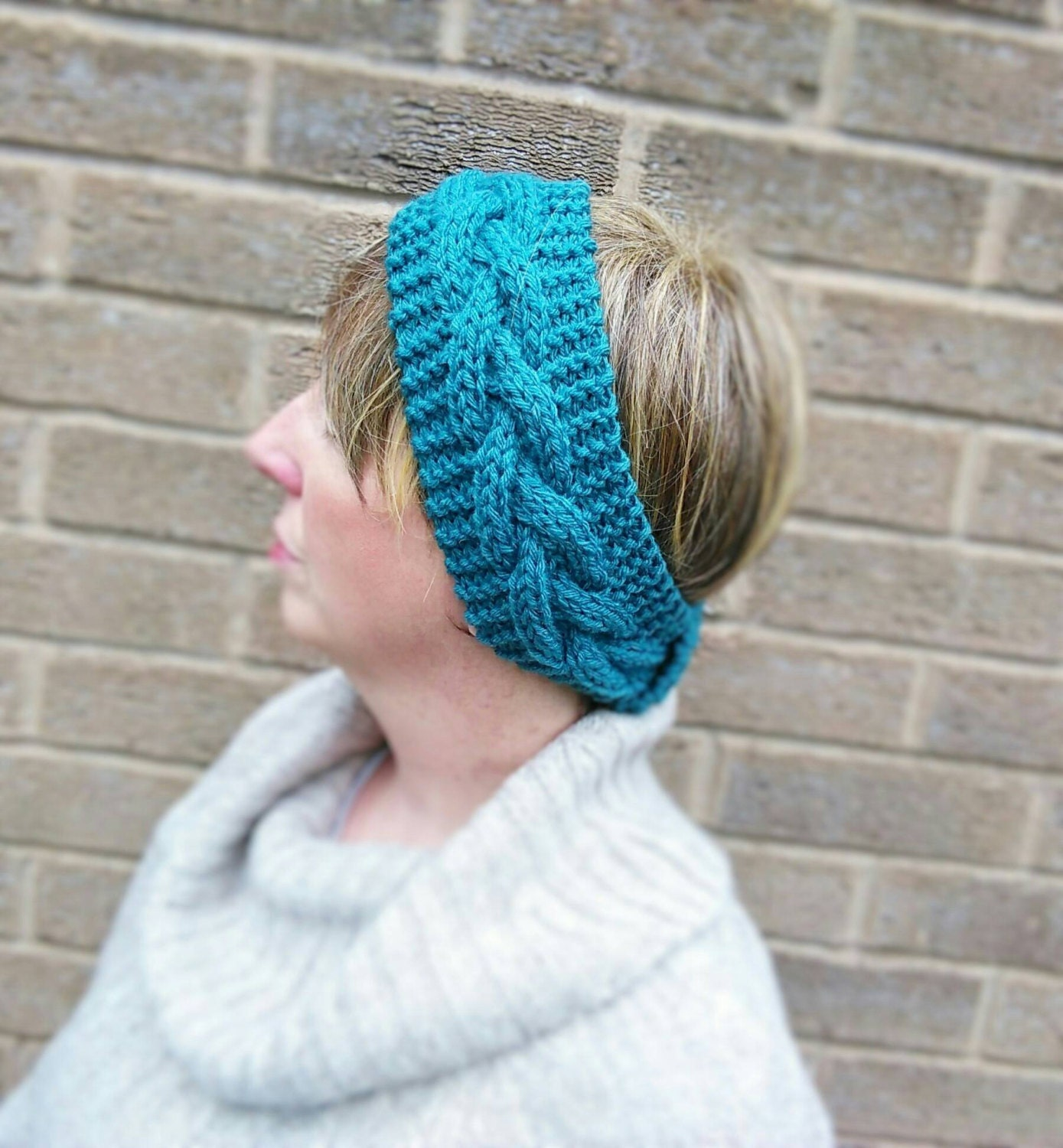 Hand Knitted Headbands Patterns : Hand Knitted Ladies Headband Ear Warmer Petrol Green Double