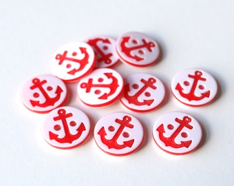 10 Red Anchor buttons/ Small nautical sewing buttons