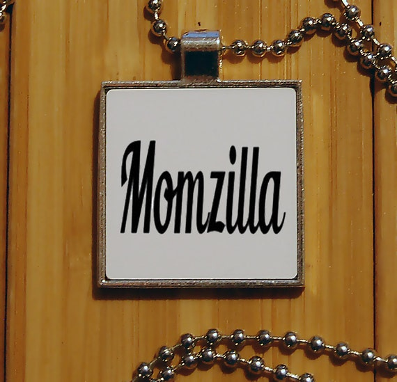 Mom necklace, momzilla pendant, mom gifts, mother jewelry, silver pendant, new mom gift, cute pendant, novelty jewelry, square pendant