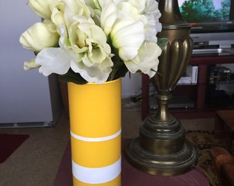 Handpainted Yellow and White Striped Flower Vase