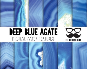 Premium Digital Paper Set, Deep Blue Agate, Digital Paper, Scrapbook Paper, Agate Texture, Instant Download