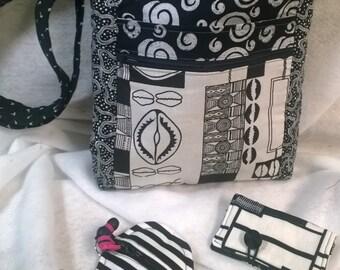 Crossbody Purse, 2 Zip Hipster African patchwork
