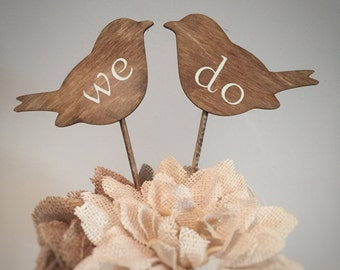 Love Bird Cake Toppers, Bird Cake Toppers, Rustic Bird Cake Toppers, We Do Cake Toppers, Vintage Cake Toppers