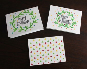 3 Hand Painted Gouache Birthday Cards