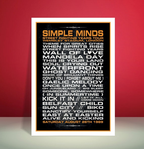 Simple Minds // Wembley Stadium 1989 Set-List Typography // A3 Poster Art print // Unique Art