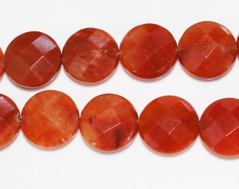 "16"" Strand of 16mm Faceted Coin Shaped Red Agate Beads #82"