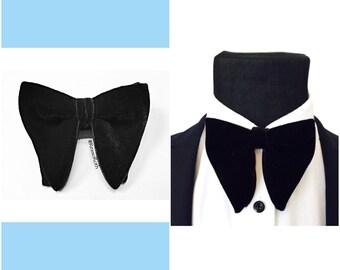 Butterfly bow tie, Black velvet bow tie, Wedding bowtie, Velvet bowtie, Groom bowtie