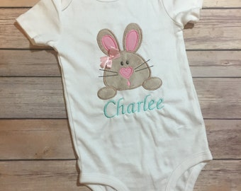 Baby Girl Easter Bunny Outfit - Baby Girl Easter Onesie - Bunny Onesie
