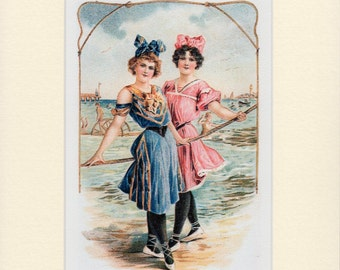 Bathing Beauties Victorian Beach Mounted Print