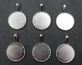 Stainless Steel Bezel Charms Pendants for Glue in Settings. 25mm Round. Set of 6