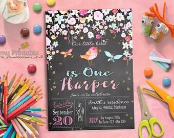 Bird Birthday Invitation / Digital Printable Party Invite for Kids / DIY