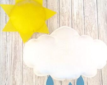 Large Mobile Set, Mobile, Nursery, Playroom, Sun, Cloud, Raindrops, Pillows, Prop
