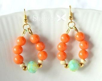 Earrings tropical Orange and green