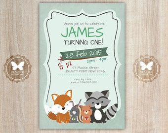 Printable Woodland Birthday Invitation, Woodland Invitation, 1st 2nd 3rd 4th 5th 6th Birthday, DIY Birthday Invitation, Birthday Invitation