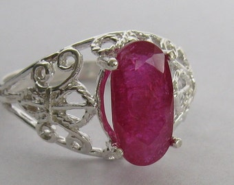 Natural unheated 2.3 ct ruby & sterling silver 925 ring size 7.5