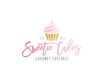 Logo Design - Premade Logo Design - Bakery Logo - Cupcake Logo - Muffin Logo - Fun Logo - Pink Logo, Customized for any business - 087