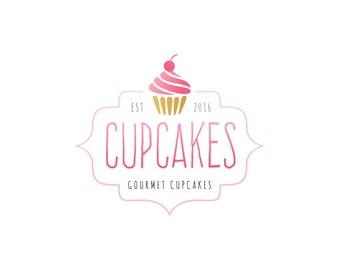 Logo Design - Premade Logo Design - Bakery Logo - Cupcake Logo - Muffin Logo - Fun Logo - Pink Logo, Customized for any business - 088
