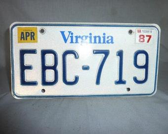 Vintage 1987 Virginia License Plate