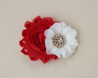 Red and ivory Christmas hair bow, Red Christmas hair clips,girls ivory and red hair clips, Red flower girls Hair clips toddler Christmas