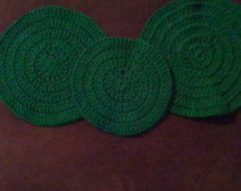 Set of 3 Forest Green Round Dishcloths Washcloths Cleaning Cloths