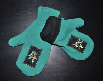 Teal Mittens, Handmade MIttens, Fleece Lined Mittens, UPcycled Mittens