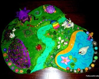 FAIRYLAND Deluxe Felted Play-Scape© Extra Pictures.river pond cave fairy house rainbow bridge unicorn fairies swan bunnies mermaid toadstool