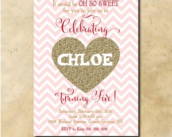 Adorable Valentine Birthday Invitation with Gold Glitter Heart / DIGITAL FILE / printable / wording and age can be changed