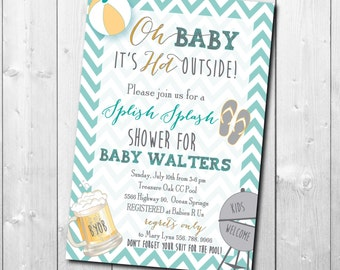 Couples Baby Shower Invitation printable/Digital File/pool party, cookout, baby q, beer, grilling, baby boy,baby girl/Wording can be changed