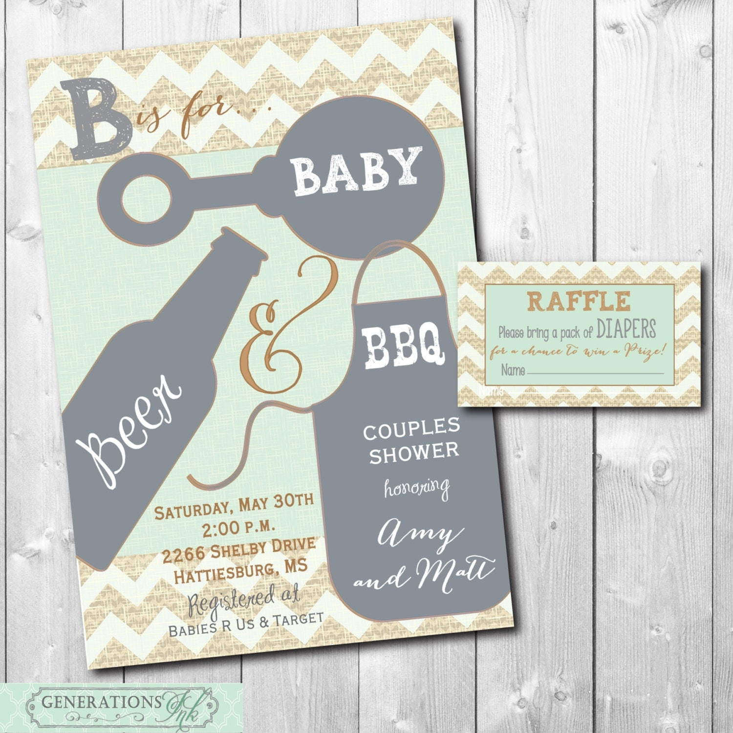 couples baby shower invitation with diaper raffle ticket