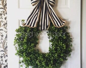 Spring Faux Boxwood Wreath, Nautical Boxwood Burlap Wreath 22 inches, Boxwood Wreath with Burlap Bow, Summer Boxwood, easter boxwood wreath